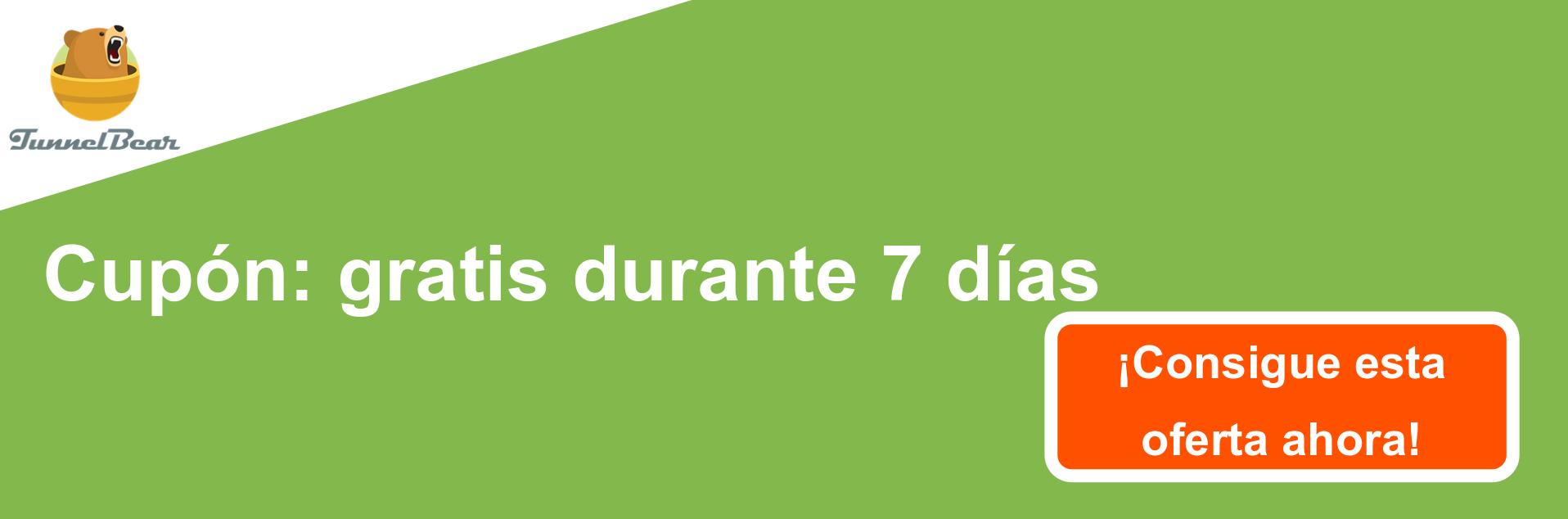 Banner de cupón VPN TunnelBear - 7 días gratis