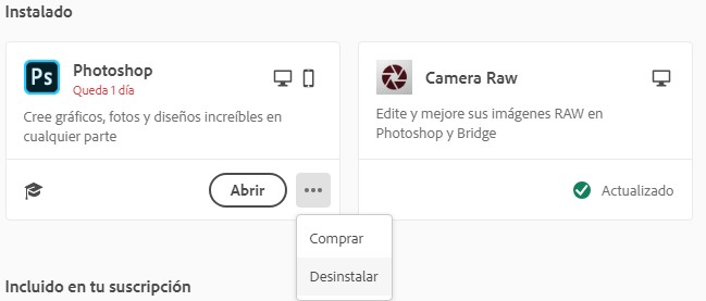 Eliminar Photoshop con Creative Cloud