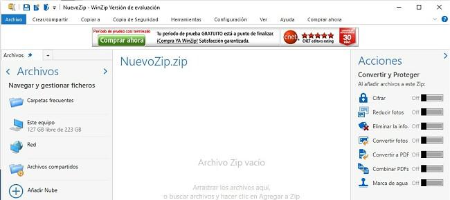 Interfaz de archivo WinZip