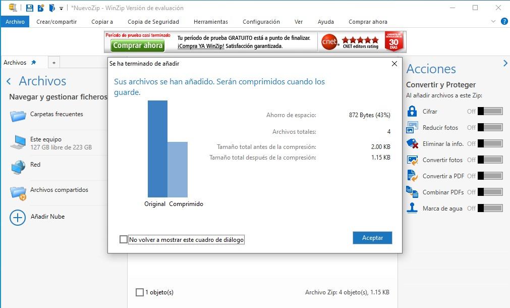 WinZip comprimiendo archivos