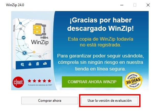 Versión de evaluación de WinZip