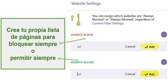 Configuración del sitio web de Net Nanny