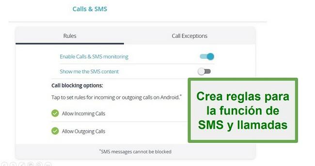 Monitoreo de llamadas y SMS de Qustodio
