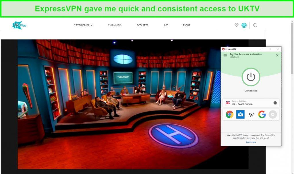 Screenshot of ExpressVPN unblocking Hypothetical on UKTV
