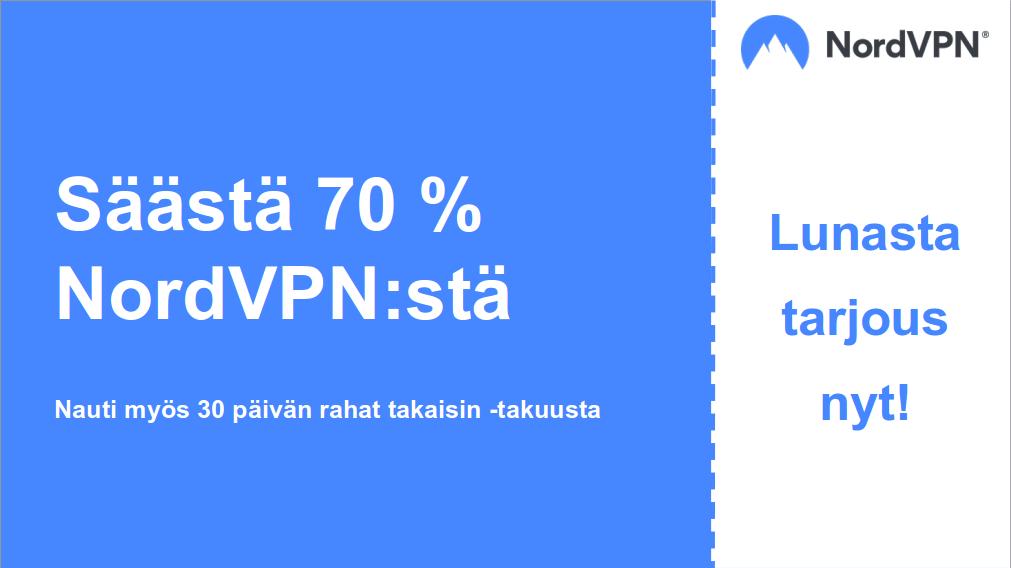 Grafiikka toimivasta NordVPN-kuponkista, 70% alennuksella ja 30 päivän rahat takaisin -takuulla