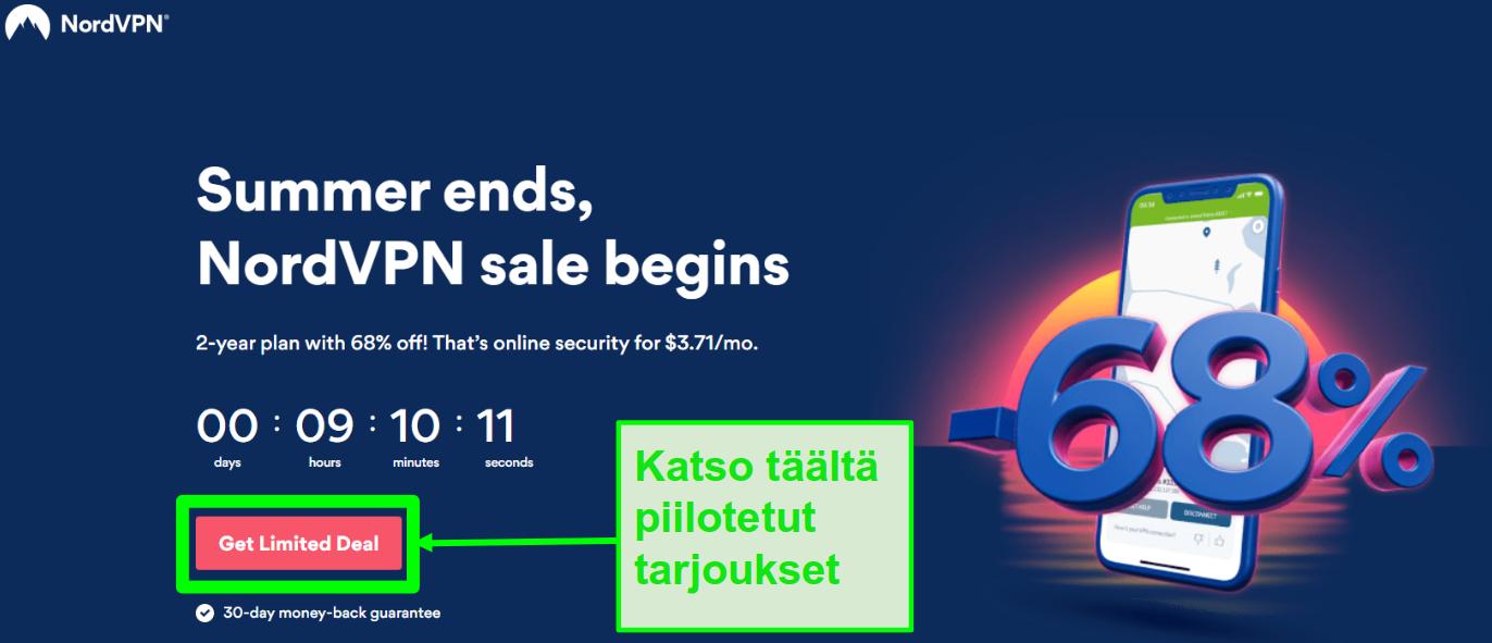 Näyttökuva NordVPN piilotettujen tarjousten sivulta
