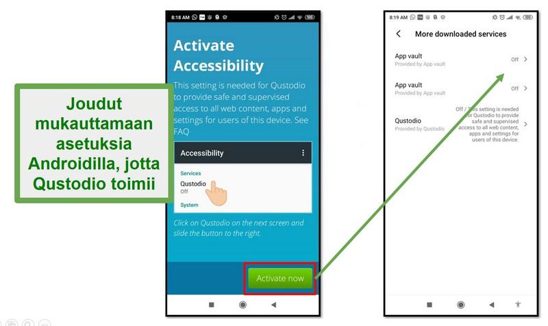 Qustodion Android-asetukset
