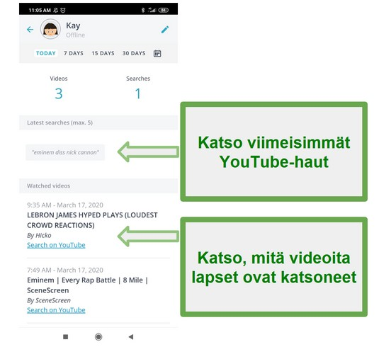 Qustodio Youtube -seuranta
