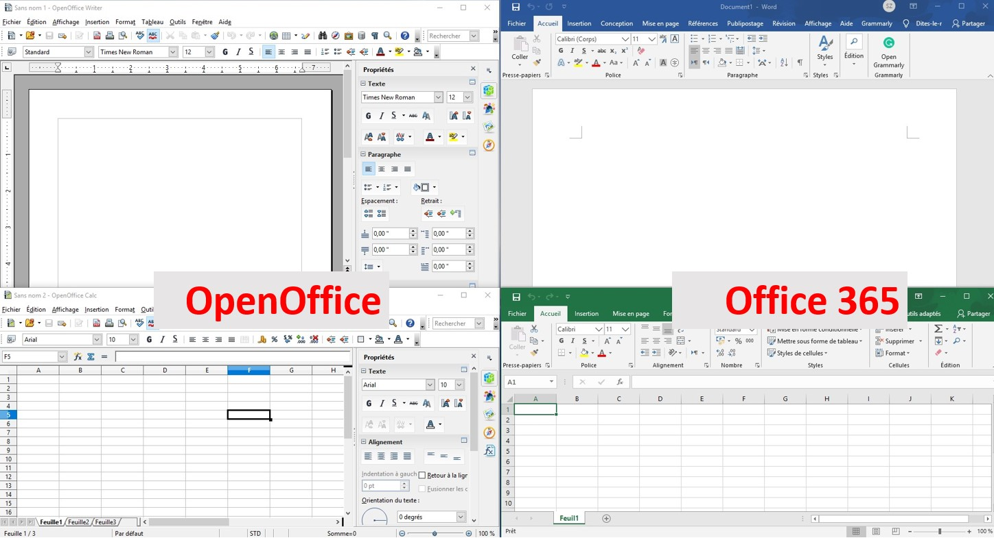 Comparaison d'OpenOffice et d'Office365