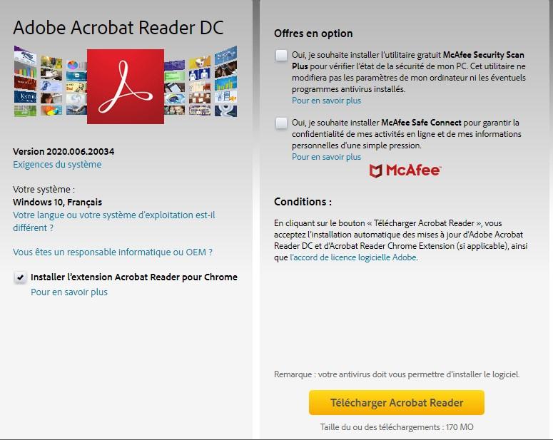 Page de téléchargement d'Adobe Acrobat Reader DC