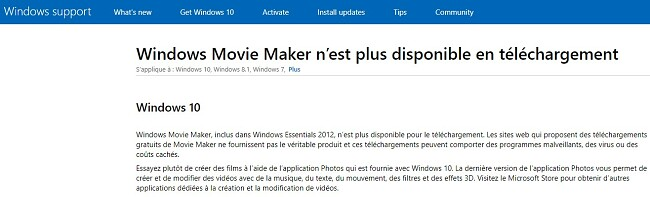 Windows Movie Maker n'est pas téléchargeable