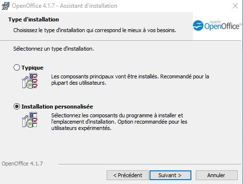 Installation personnalisée ou typique d'OpenOffice