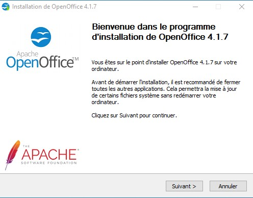 Assistant d'installation d'OpenOffice 1