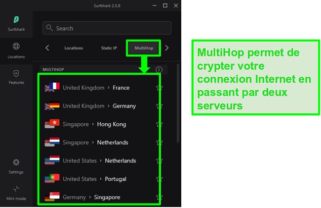 Capture d'écran de l'aperçu des serveurs de Surfshark montrant leurs serveurs MultiHop