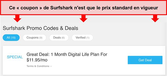 Capture d'écran de faux codes promotionnels et offres Surfshark