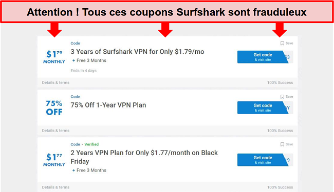 Capture d'écran de faux coupons Surfshark