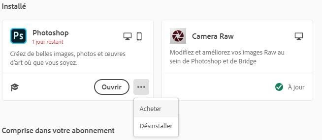 Supprimer Photoshop avec Creative Cloud