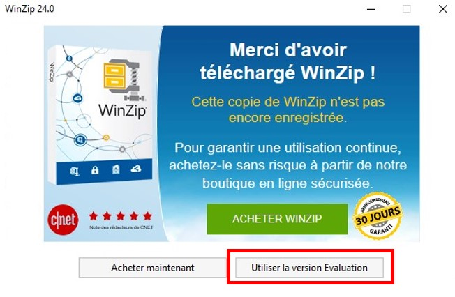 Use Evaluated Version WinZip