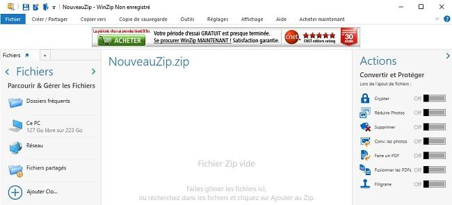 Interface de fichier WinZip
