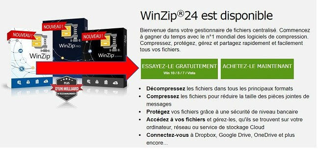 Page de téléchargement de WinZip