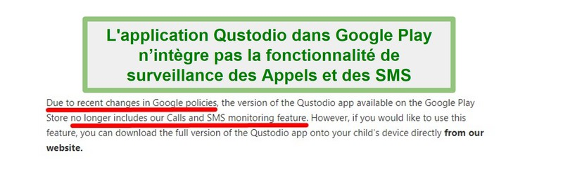 Politique de Qustodio Google Play