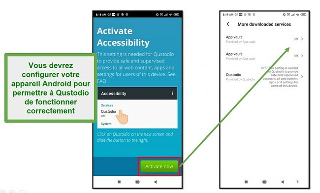 Paramètres Qustodio Android