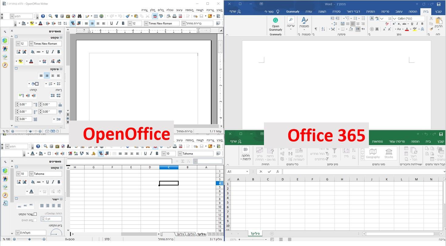 השוואה בין OpenOffice ו- Office365