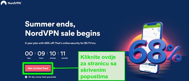 Snimak zaslona stranice NordVPN sa skrivenim ponudama