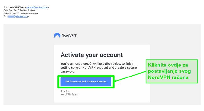 Snimka zaslona e-pošte za aktivaciju računa NordVPN