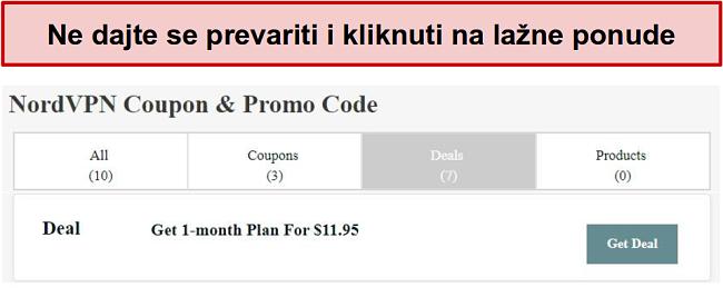 Web lokacija koja prikazuje lažnu ponudu za popust NordVPN