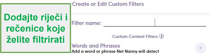 Prilagođeni filtar Net Nanny