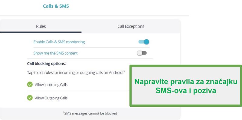 Nadgledajte Qustodio pozive i SMS