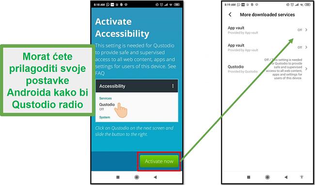 Postavke Android Qustodio