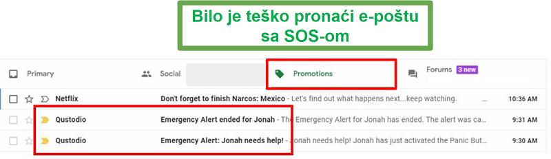Pošaljite e-poštu na Qustodio SOS