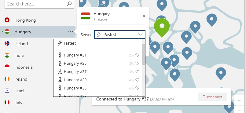 a NordVPN szerverek képe Magyarországon
