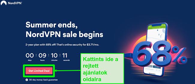 Pillanatkép a NordVPN rejtett ajánlatok oldaláról