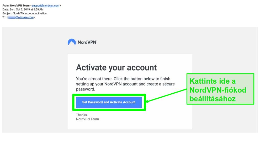 A képernyőképe a NordVPN-fiók aktiválásáról
