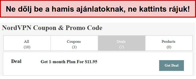 Egy hamis NordVPN kedvezményes üzletet mutató webhely