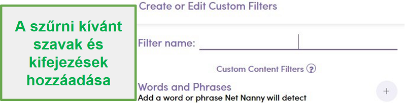 Net Nanny egyéni szűrő