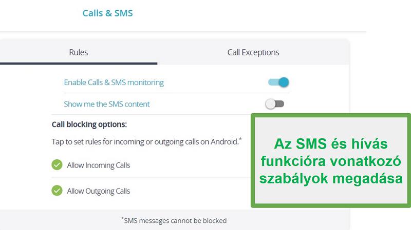 Figyelje a Qustodio hívásokat és SMS-eket