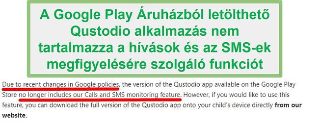 Google Play Qustodio irányelvek