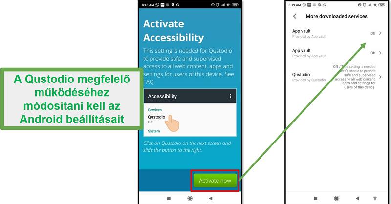 Android Qustodio beállítások