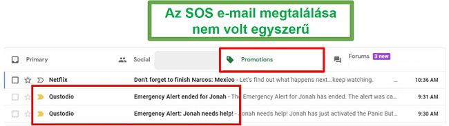 E-mail küldése a Qustodio SOS-nak
