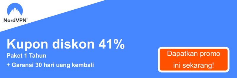Grafik dari kupon NordVPN bekerja menawarkan 41% diskon untuk 1-tahun berlangganan dan 30 hari jaminan uang kembali