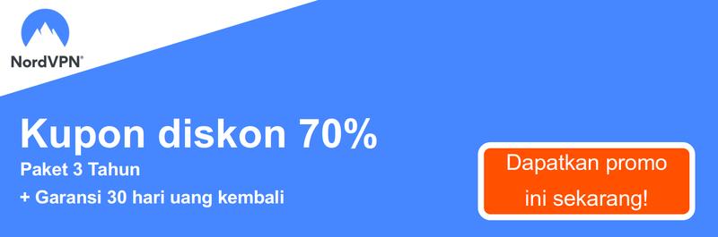 Grafik dari kupon NordVPN bekerja menawarkan 70% diskon untuk berlangganan 3 tahun dan jaminan 30 hari uang kembali