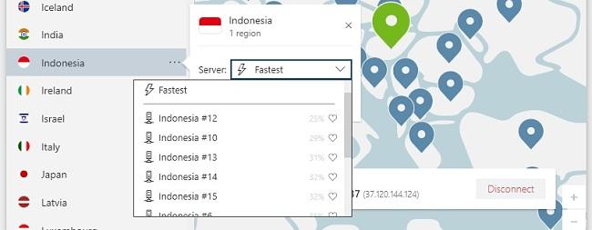 gambar server NordVPN di Indonesia