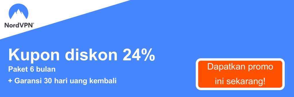 Grafik spanduk kupon NordVPN yang menunjukkan diskon 24%