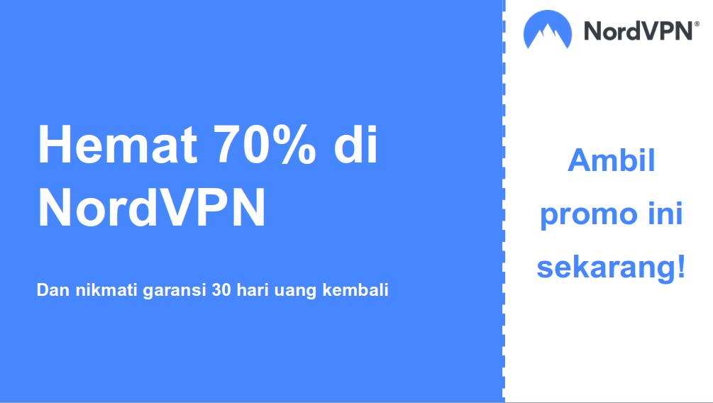 Grafik kupon NordVPN yang berfungsi dengan diskon 70% dan jaminan uang kembali 30 hari