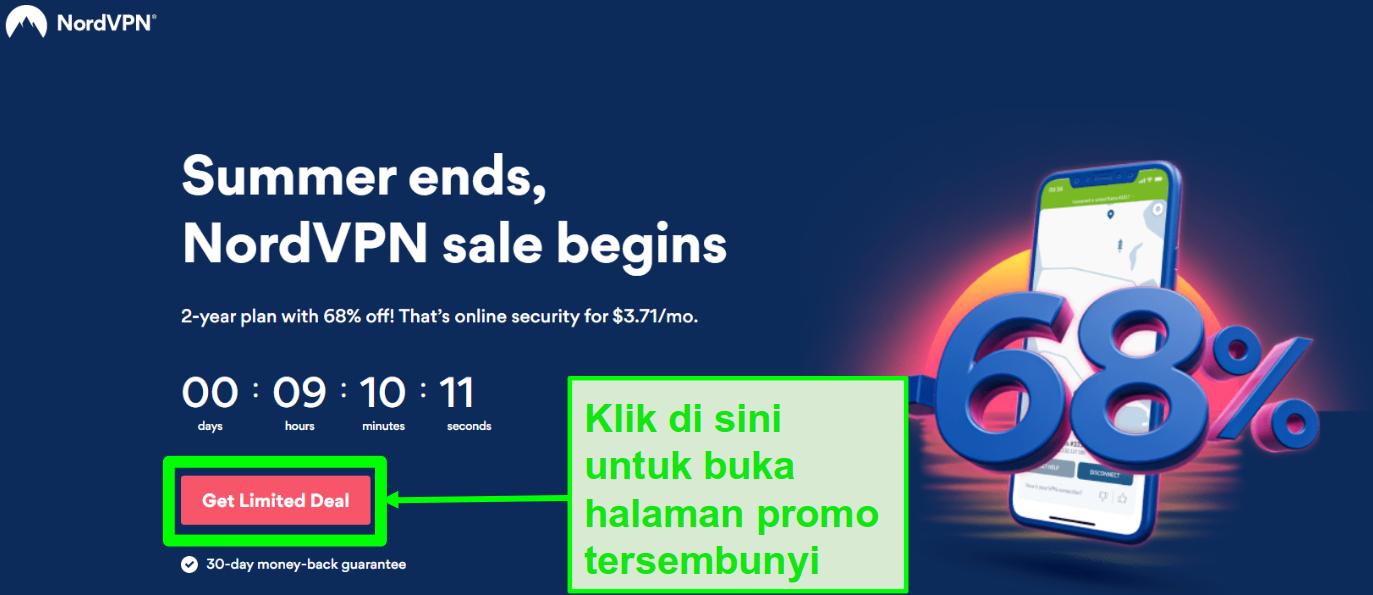 Tangkapan layar dari halaman penawaran tersembunyi NordVPN