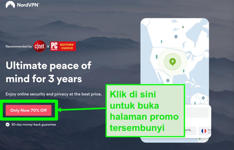 Cuplikan layar halaman penawaran tersembunyi NordVPN